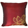 Thai Silk Throw Pillow Cover, Lotus Design, Red - TropicaZona