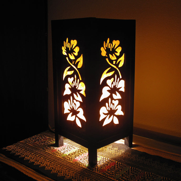 Yellow & White Flowers Mulberry Paper Wood Frame Table Lantern (Lamp) - TropicaZona