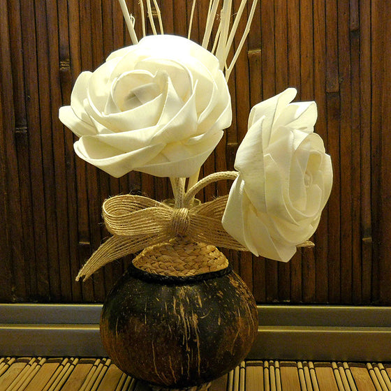 Sola Wood Flower Aroma Oil Diffuser With A Bendable Cotton