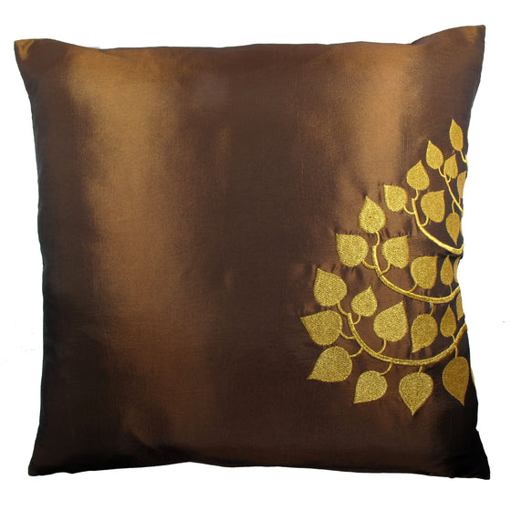 Thai Silk Throw Pillow Cover, Bodhi Design, Medium Brown - TropicaZona