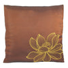 Thai Silk Throw Pillow Cover, Lotus Design, Medium Brown - TropicaZona