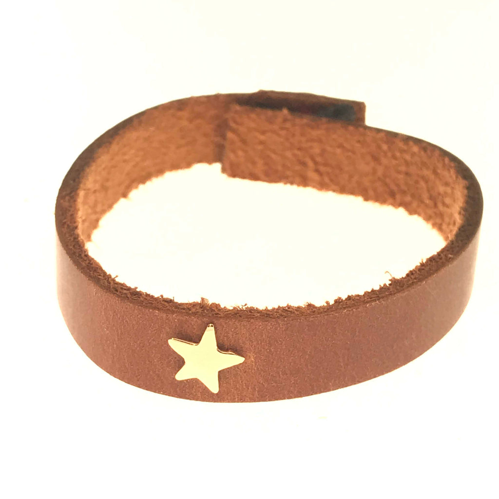 gold star leather bracelet