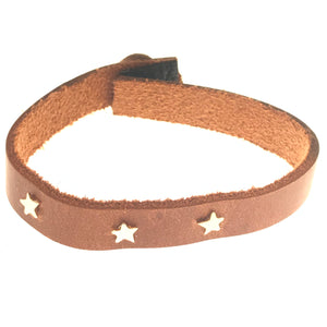 gold 3 star leather bracelet