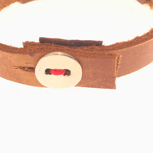silver 3 star leather bracelet