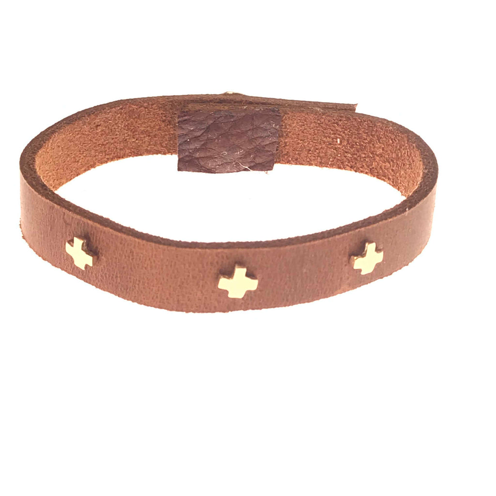 gold 3 + leather bracelet