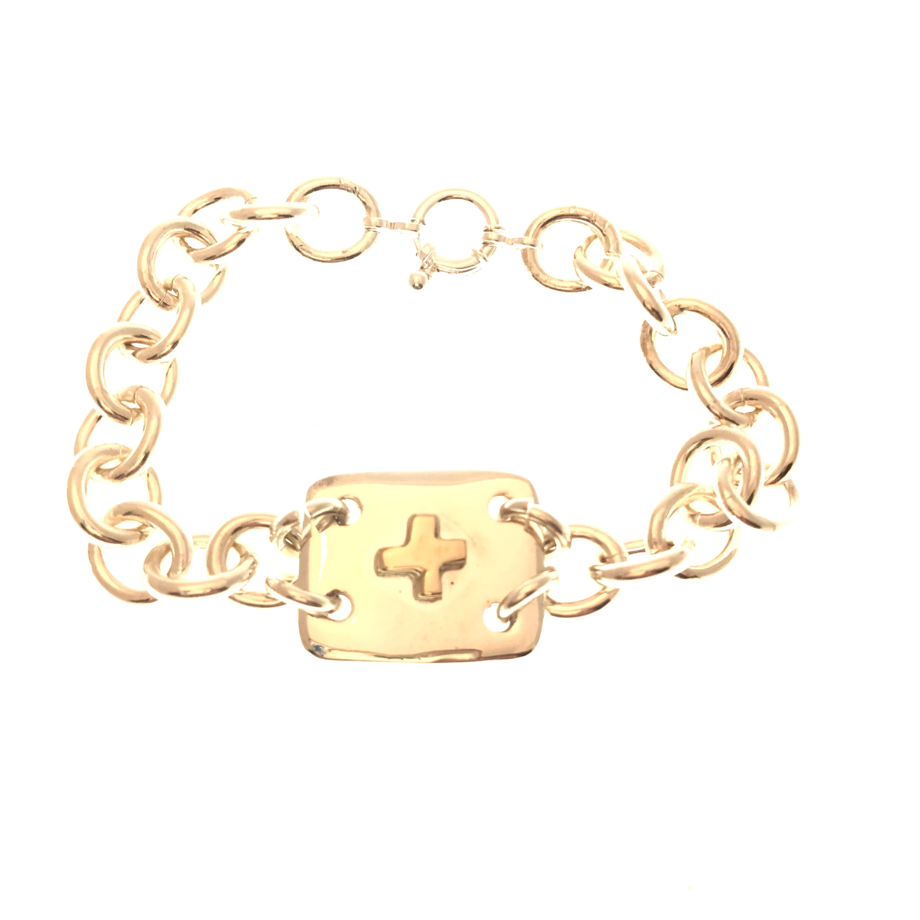 gold and silver ID bracelet