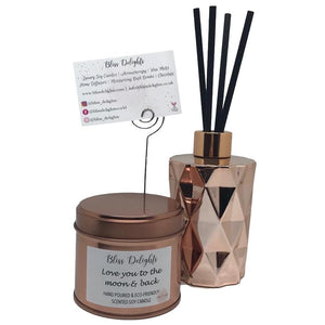 Bliss Delights Rose Gold Candle, Reed Diffuser & Bath Bomb Gift Set