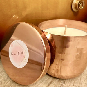 Bliss Delights Copper Candle in Handmade Dimple Pot | Luxury Scented Soy Candle