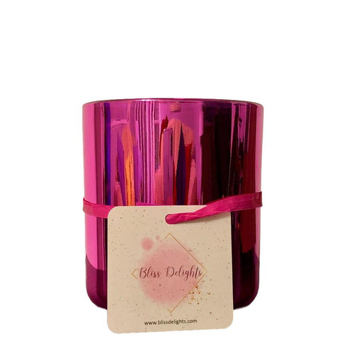 Bliss Delights Pink Rhubarb Gin Soy Candle Large Glass | Eco & Vegan