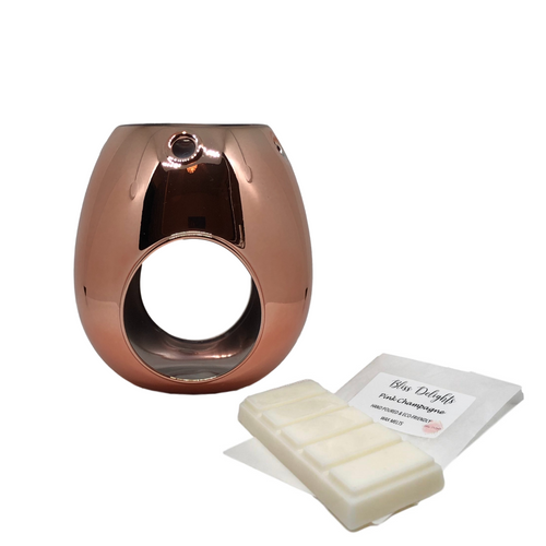 Copper/ Rose Gold Metallic Wax Melt Burner - Bliss Delights