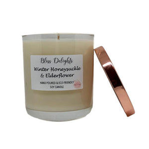 Bliss Delights Winter Honeysuckle & Elderflower Scented Candle | Eco & Vegan