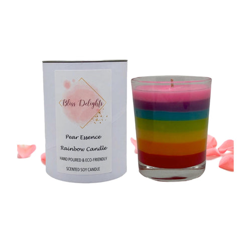 Bliss Delights Pear Essence Soy Candle Rainbow Gift | Vegan Gift