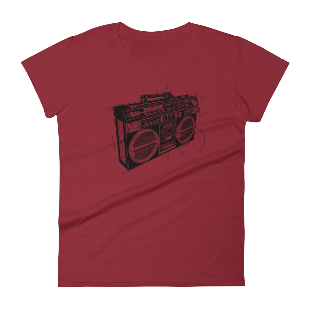 BOOMBOX T Shirt - Women's Summer Short Sleeves Top - O Neck Tee