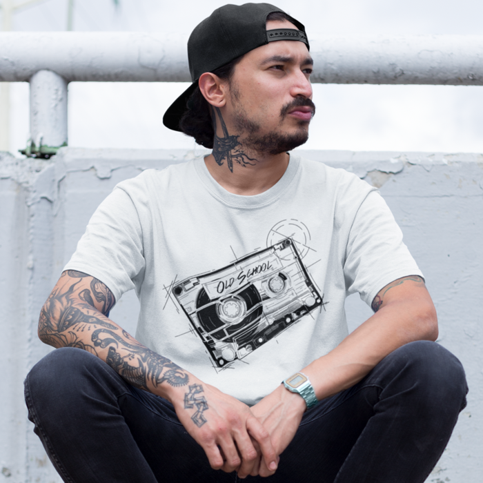 OLDSCHOOL TAPE T Shirt - Summer Short Sleeves Retro Top Men's