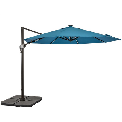 10 Ft. Cantilever Umbrella with LED Light & Blue Canopy - Outdoorlivingsuites