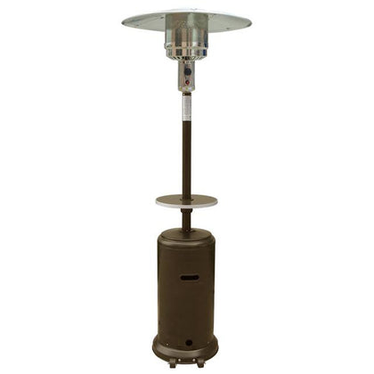 "87"" Tall Outdoor Patio Heater with Table - Hammered Bronze - Outdoorlivingsuites"