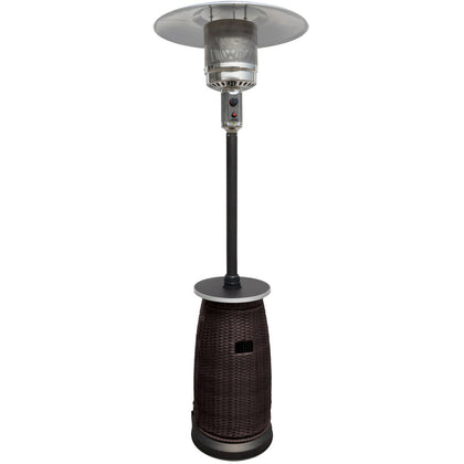 "87"" Tall Outdoor Resin Wicker Patio Heater with Table - Outdoorlivingsuites"