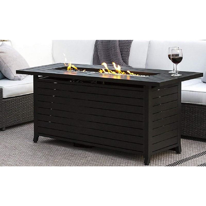 Black Mocha Finish Aluminum Rectangular Fire Pit With Wind Screen