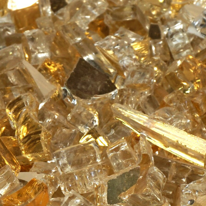 "1/2"" Casino Gold Metallic Fireglass Crystals - Outdoorlivingsuites"