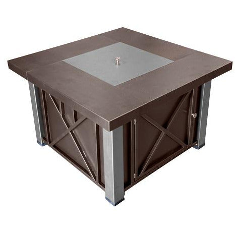 Decorative Hammered Bronze Fire Pit with Stainless Steel Legs and Lid