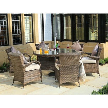 Direct Wicker 7-Piece Outdoor Patio Furniture Cast Aluminum Dining Table and Chairs, Brown - Outdoorlivingsuites