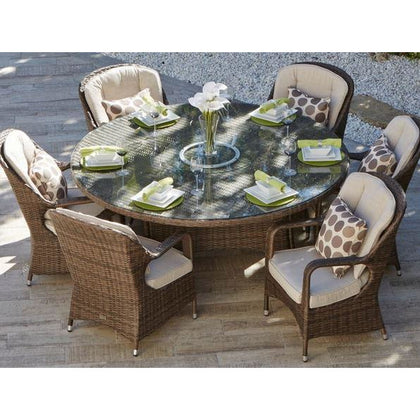 CINDERELLA 7-PIECE ROUND PATIO GARDEN RATTAN WICKER FURNITURE DINING SET - Outdoorlivingsuites