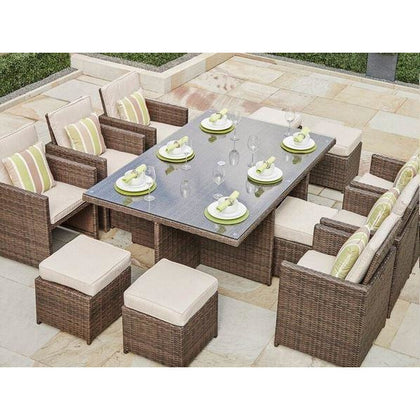 Alana 11-Piece Patio Garden Rattan Wicker Furniture Dining Set - Outdoorlivingsuites