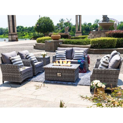 Maxwell 5-Piece Aluminum Wicker Patio Gas Fire Pit Conversation Set with Gray Cushions - Outdoorlivingsuites