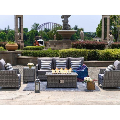Maxwell 5-Piece All-Weather Wicker Patio Conversation Set with Gas Fire Pit Table - Outdoorlivingsuites