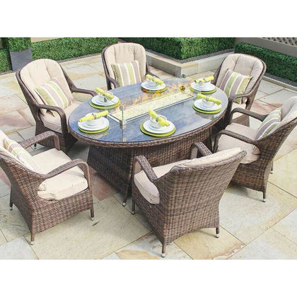 6-Seat Oval Gas Fire Pit Dining Table with Eton Chairs with Cushions - Outdoorlivingsuites