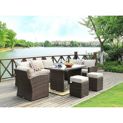 Mulan 7-Piece Patio Garden Rattan Wicker Furniture Dining Set - Outdoorlivingsuites