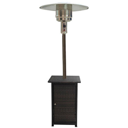 "87"" Tall Square Wicker Outdoor Patio Heater With Wheels - Outdoorlivingsuites"