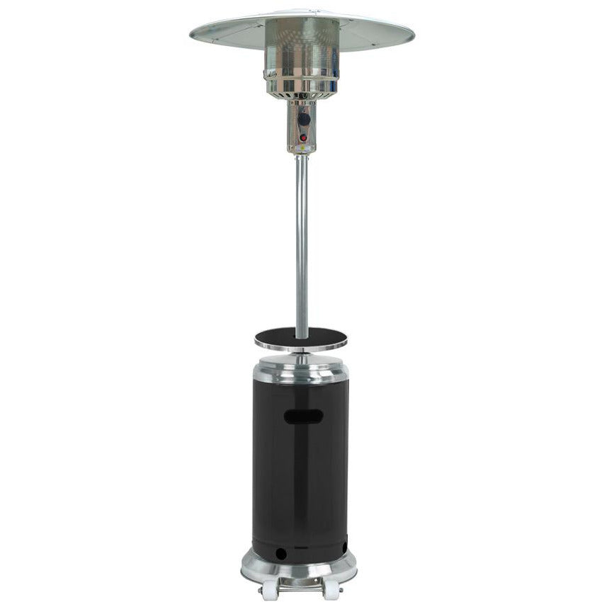 "87"" Two Tone Outdoor Patio Heater with Black Table & Stainless Steel"