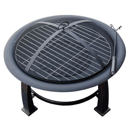 "30"" Wood Burning Firepit with Cooking Grate - Outdoorlivingsuites"