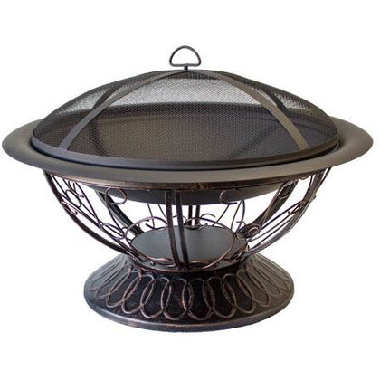 "30"" Wood Burning Firepit with Scroll Design - Outdoorlivingsuites"