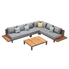 Higold - Polo 5 Piece Paito Sets, Contemporary Corner Sofas and Coffee Table, Assemble with Grade A Teak, Frame, Textilene