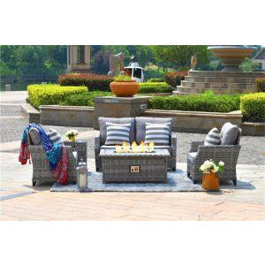 Direct Wicker Fire Pit Table With Chair Rattan Wicker Sofa Set out Door Furniture Garden Set