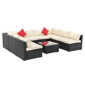 9 Piece Rattan Sectional Seating Group with Cushions