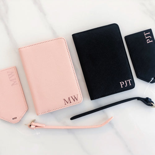 Personalised Monogram Passport & Luggage Tag Set