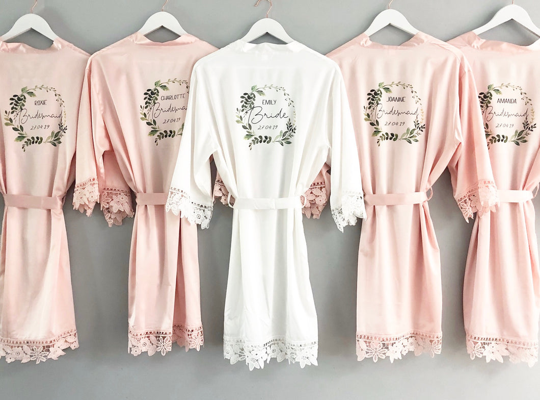 Floral Wreath Bridal Robe