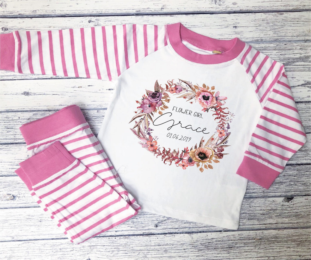 Personalised Floral Design Children's Pyjamas