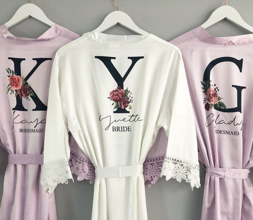 Black Floral Initial Bridal Robe