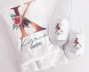 Floral Initial robe and slippers set