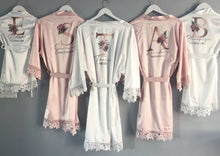 Load image into Gallery viewer, Rose Gold Floral Initial Bridal Robe