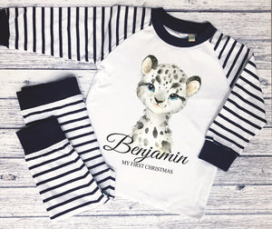 Personalised striped animal pyjamas