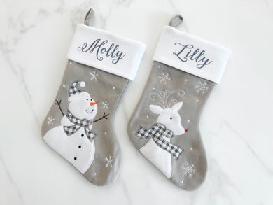 Deluxe Grey Personalised Christmas Stocking