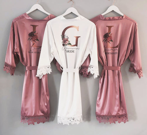 Rose Gold Floral Initial Bridal Robe
