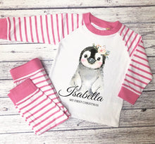 Load image into Gallery viewer, Personalised striped animal pyjamas