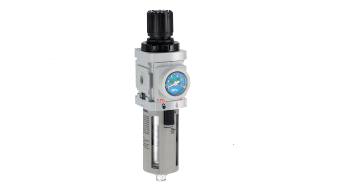 TPC Automation Pneumatic piggyback filter regulator. Built-In gauge is applicable and function to set up operating pressure range (MPa) is available (Fan type adjustment) Various options are available (Built-in check valve, handle lock, etc.)