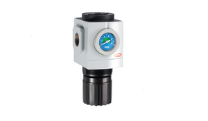 TPC Automation PR5 Pneumatic Regulator. Built in gauge and function to set up operating pressure range for fluid power.